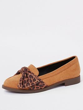 river-island-printed-bow-loafer-tan