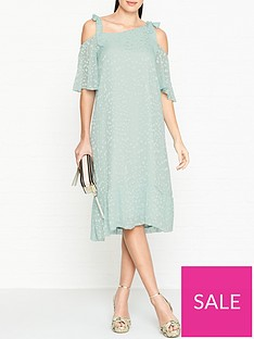 gestuz-cold-shoulder-frilly-dress-mint-blue