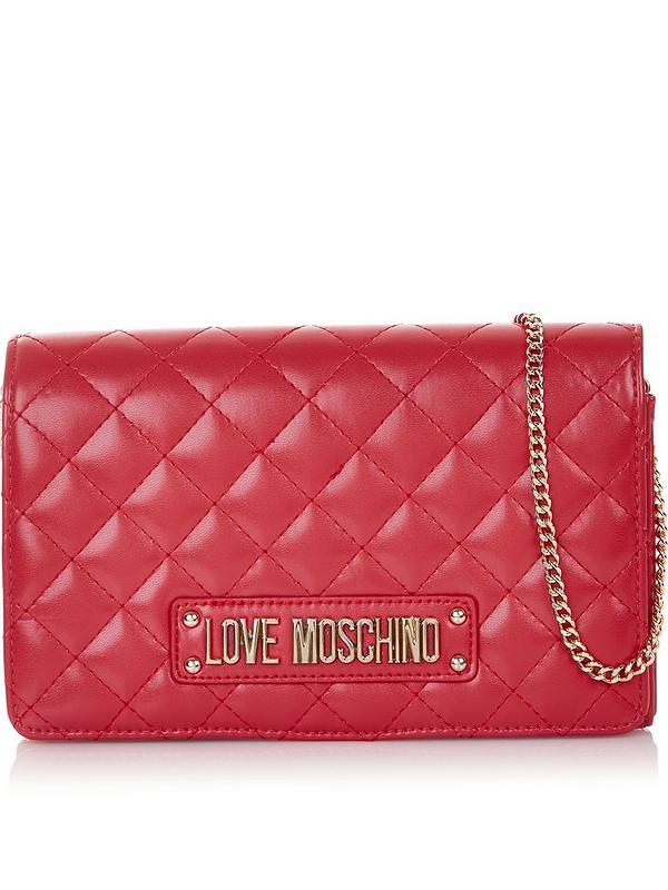 6b4d824f03 LOVE MOSCHINO Logo Quilted Cross-Body Bag - Red | very.co.uk