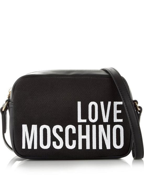 72c2b06f860a LOVE MOSCHINO Logo Canvas Cross-Body Bag - Black
