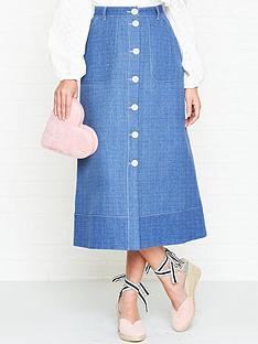 perseverance-london-textured-denim-contrast-stitch-midi-skirt-denim