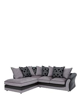 Milan Faux Leather And Fabric Left Hand Corner Chaise Scatter Back Sofa