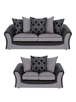 Milan Faux Leather And Fabric 3 Seater + 2 Seater Scatter Back Sofa Set (Buy And Save!)
