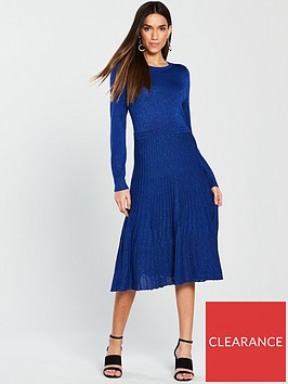 oasis-lurex-pleated-knitted-dress-blue
