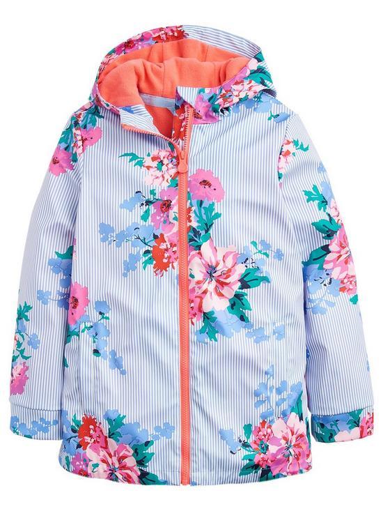 30f1d4200 Joules Girls Raindance Stripe Floral Rubber Coat - Sky Blue | very.co.uk