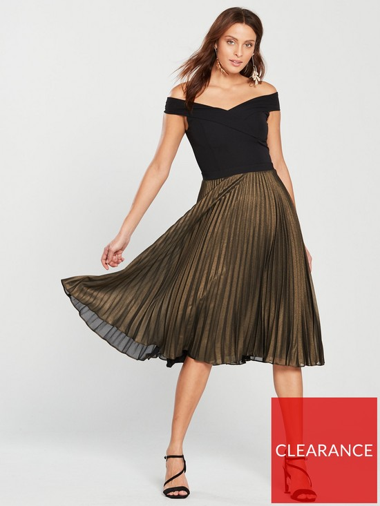 a26eba40e47f2 Oasis Metallic Bardot Pleat Midi Dress - Multi