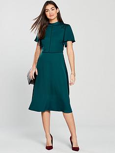 oasis-satin-flute-sleeve-ladder-detail-midi-dress