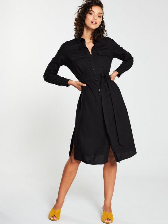 58c52213 V by Very Linen Button Through Shirt Dress - Black | very.co.uk