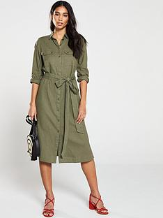 f9b505fe V by Very Linen Button Through Shirt Dress - Khaki