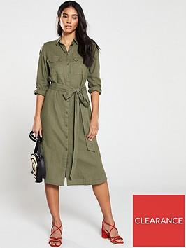 v-by-very-linen-button-through-shirt-dress-khaki