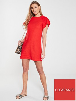 v-by-very-linen-ruched-sleeve-tunic-red