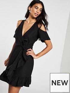 d0ec4b2b85b V by Very Linen Cold Shoulder Wrap Dress - Black