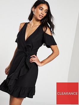 v-by-very-linen-cold-shoulder-wrap-dress-black