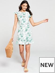 03820d5eec V by Very Ladder Trim Linen Flippy Dress - Print