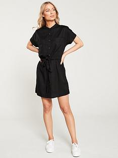 39d23663 V by Very Button Through Tie Waist Tunic Dress - Black