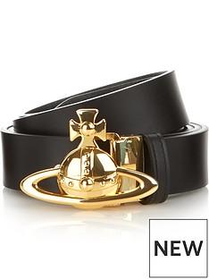 vivienne-westwood-mens-gold-orb-buckle-leather-beltnbsp--black