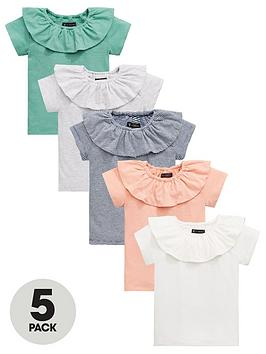 mini-v-by-very-girls-5-pack-ruffle-neck-t-shirts-multi