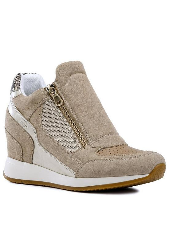 9f43ffb72b96 Geox Geox D Nydame Wedge Trainer - Tan Silver
