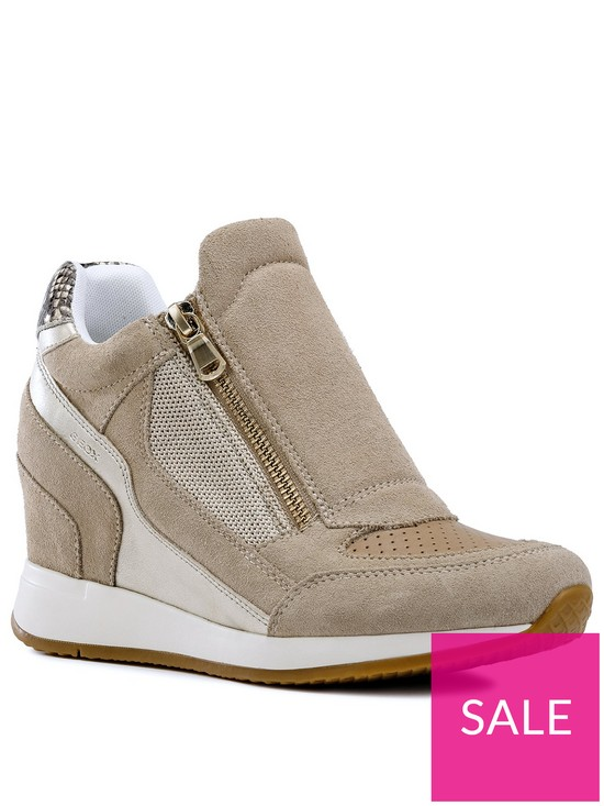 2416d2d46db8fc Geox Geox D Nydame Wedge Trainer - Tan/Silver   very.co.uk