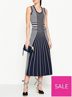hugo-silbiana-sleeveless-stripe-knitted-midi-dress-navywhite
