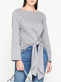 hugo-elomeanbspcheckered-knot-front-blouse-multinbsp