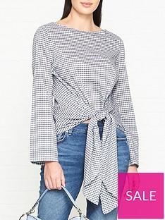 hugo-elomeanbspcheckered-knot-front-blouse-multinbsp