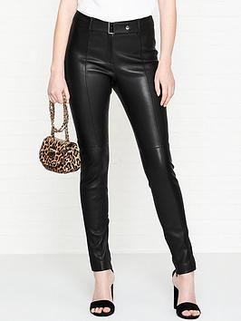 hugo-lonea-belt-detail-leather-trousers-black