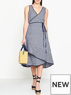 hugo-kitheanbspsleeveless-check-wrap-dress-navy