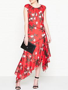 hugo-kefesha-printed-asymmetric-hem-midi-dress-red