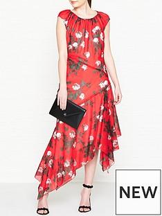 hugo-kefesha-printed-asymmetric-hem-midi-dress-red