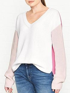 hugo-sonomi-colourblock-jumper-white