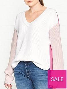 hugo-sonomi-colourblock-jumper-white