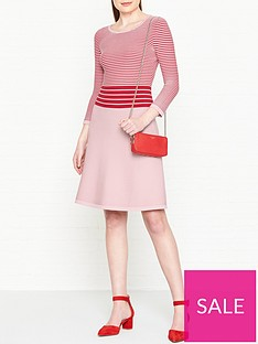 hugo-shaniwa-stripe-knitted-fit-and-flare-dress--nbspredpink