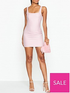 bec-bridge-check-you-later-houndstooth-mini-dress-pink