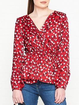 hugo-esalie-printed-wrap-blouse-red