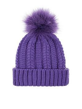 accessorize-luxe-pom-beanie-hat-purple
