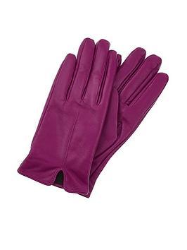 Accessorize Basic Leather Gloves - Purple
