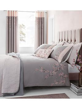 Catherine Lansfield Embroidered Blossom Duvet Cover Set
