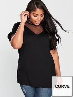 b93e16094cb V by Very Spot Mesh T-Shirt - Black