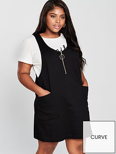 0879778fd7 V by Very Curve Zip Detail Pinafore Denim Dress - Black