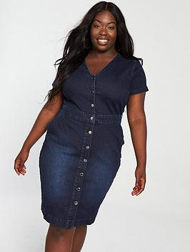 v by very curve button front denim dress - indigo