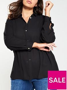 v-by-very-curve-button-through-longlinenbspshirt-black