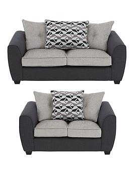 Juno Fabric Compact Scatter Back 3 Seater + 2 Seater Sofa Set (Buy And Save!)
