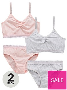 2c082cd9f4340 V by Very Girls 2 Pack Lace Trim Crop Top and Knickers Set - Grey/Pink