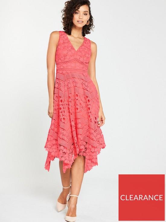 86b40820a V by Very Lace Hanky Hem Dress - Coral | very.co.uk