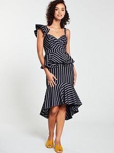 v-by-very-stripe-peplum-dress-monochrome