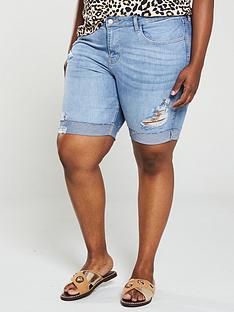 v-by-very-curve-distressednbsplongline-rolled-up-denim-shorts-light-wash