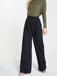 68695abbfc9c V by Very Buckle Wide Leg Trousers - Black