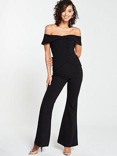 5021233dee19 V by Very Button Bardot Bootcut Jumpsuit - Black