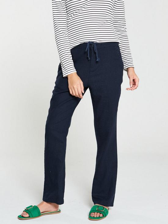 61e10354af0d V by Very Linen Mix Trousers - Navy | very.co.uk